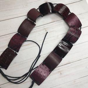 Streets ahead leather tie purple animal skin belt